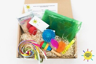 Sensory Box Baby Toys Ribbon Scarves Foil Blanket Bubbles Shower Gift Small