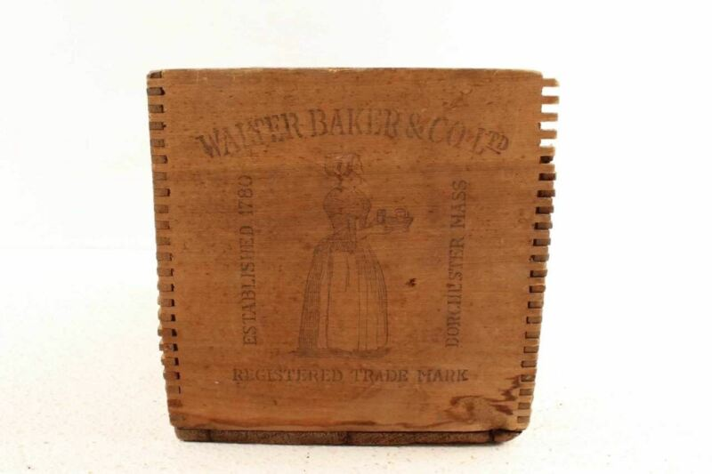 Antique Walter Baker Chocolate Gold Medal Advertising Dovetail Wood Box
