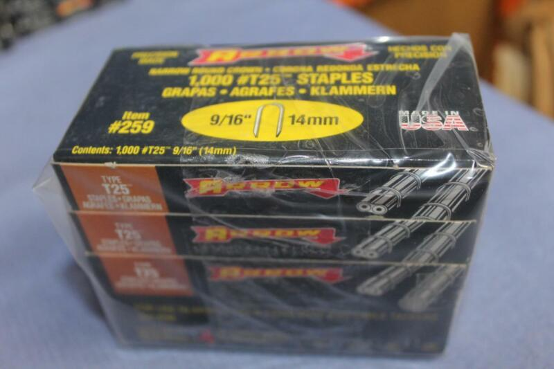 "ARROW 259 LOT OF (5) PACKS 9/16"" T25 STAPLE GUN 5000 STAPLES made in USA"