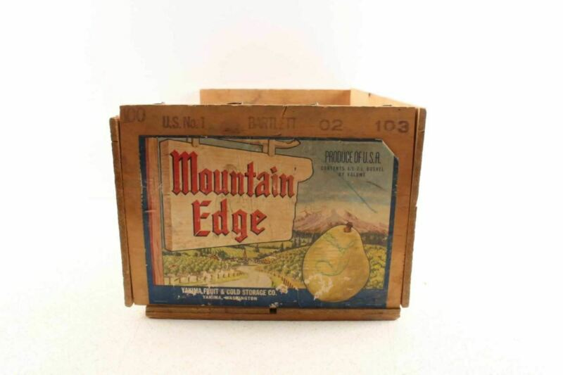 Vintage Mountain Edge Pear Fruit Crate Box Yakima Fruit & Cold Storage