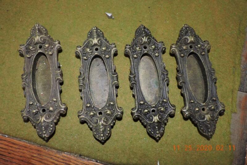 Antique Victorian Yale Y&T Fancy Brass Bronze pocket door pull handles x-4