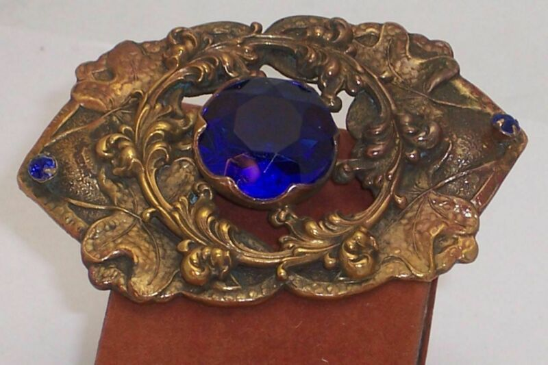 "Big 3""  Beautiful Blue Stone Art Nouveau Sash Brooch"