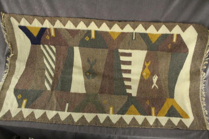 Vintage Artisan Southwest Rug FISH Iconography Hand Woven Wool Tapestry Carpet