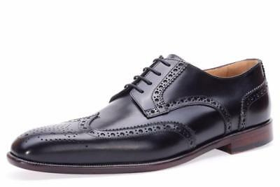 New in Box-$465 Curatore Abbott Black Wingtip Derby Leather Oxford Size 12 (45)