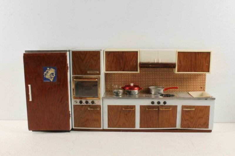 Vintage Fuchs Tin Plastic Kitchen Cabinets Stove Refrigerator Pots Pan