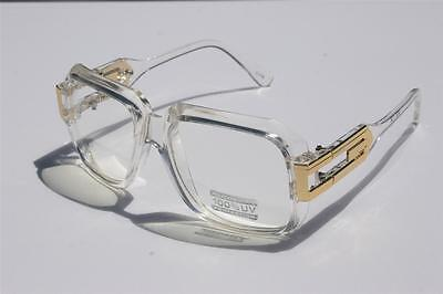 Clear frame Clear Lens Square Retro Sun Glasses Gold Metal