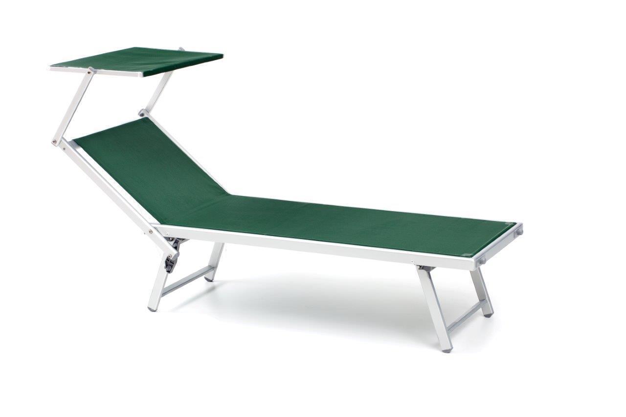 Lettino da mare in alluminio colore verde per lidi, arredo giardino piscine
