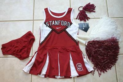 CHEERLEADER HALLOWEEN COSTUME OUTFIT STANFORD UNIVERSITY 6 SET POMS POMS BOW (Stanford Halloween)