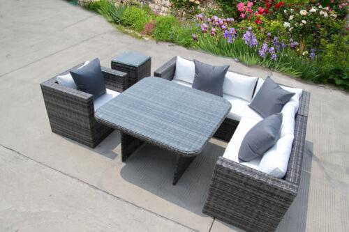 Garden Furniture - NEW RATTAN DINING GARDEN WICKER OUTDOOR CONSERVATORY CORNER SOFA FURNITURE SET