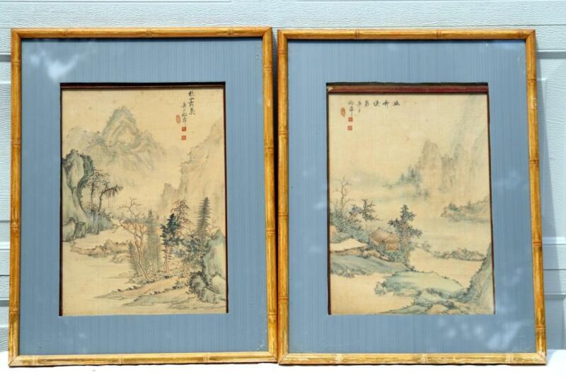 Pair Chinese Antique Silk Paintings Artist Signed Mountain House