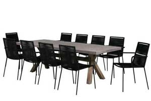 11 PIECE ASTA CONCRETE OUTDOOR DINING SETTING – BLACK