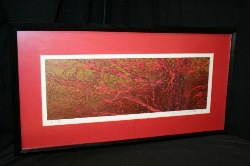 JOICHI HOSHI (JAPANESE) RED BRANCHES SIGNED & DATED - RED GOLD METALLIC WOODCUT