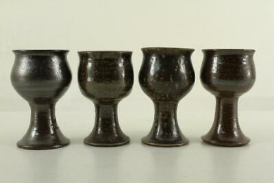BENDIGO Pottery Australia K.T. EPSOM Hand Made 4PC Lot Stoneware Footed Goblets