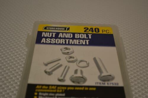 240 PC PIECE SAE STANDARD SIZE NUT AND BOLT SCREW ASSORTMENT HARDWARE KIT