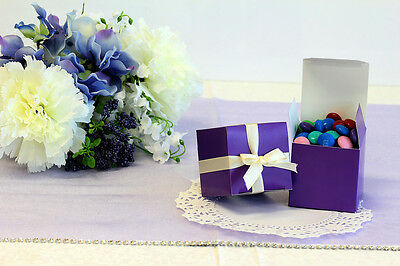 50x 2'' Cube, Wedding Bridal Baby Shower Party Favors, Gift Boxes, Purple, 2x2x2