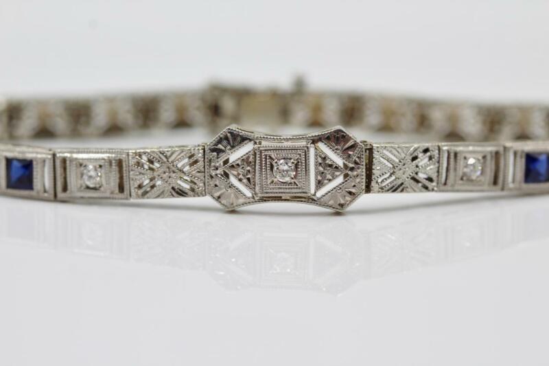VTG ART DECO 14K SOLID WHITE GOLD AUTHENTIC DIAMOND & SAPPHIRE FILIGREE BRACELET