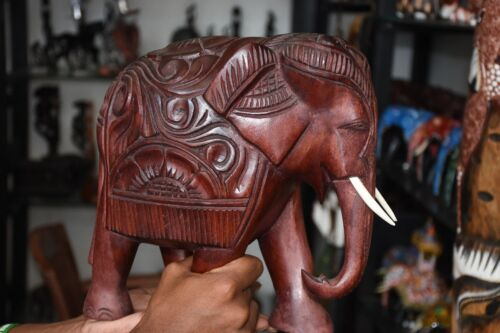 New Sri Lankan Wooden Brown Elephant Figure Statue/Sculpture