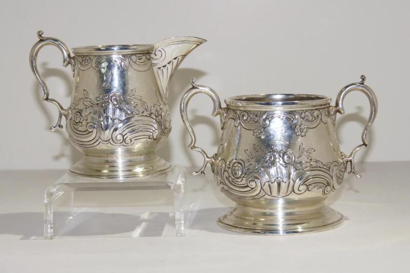 George III English Sterling Silver Repousse/Engraved Creamer & Sugar London 1792