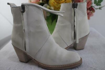 ACNE PISTOL BOOT SHORT IVORY WHITE ANKLE BOOT SIZE 36 US 6 (1400