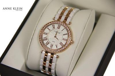 NEW Anne Klein New York Ceramic RoseGold Tone & Crystal Accent Watch 12/2262RGWT