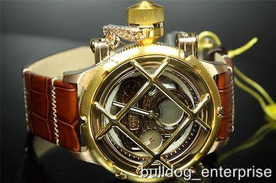 Mens Invicta Russian Diver Nautilus Swiss Mechanical Brown Rose Gold Watch New