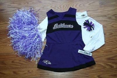CHEERLEADER OUTFIT HALLOWEEN COSTUME BALTIMORE RAVENS UNIFORM POM POMS BOW 4T 4](Ravens Cheerleader Halloween Costume)