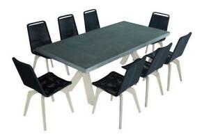 PEDRO 9 PIECE CONCRETE DINING SETTING – BLACK