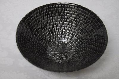 - HAND-PAINTED WEAVE CEREAL DESSERT GLASS BOWLS-GRAY/BLACK-MADE IN TURKEY-SET OF 4