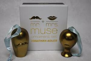 JOHNATHAN-ADLER-MR-amp-MRS-MUSE-CHRISTMAS-HOLIDAY-HANGING-ORNAMENT-SET-GOLD