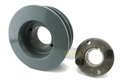 Cast Iron 4.5 2 Groove Dual Belt B Section 5l Pulley W 78 Sheave Bushing