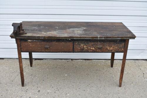 Industrial Antique Metal Workbench Wood Top 2 Drawers Vise Store Display