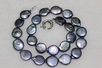 100% Natürliche Münzenform Perlenkette Schwarz 13-14mm 18 Zoll - Perlenketten Großhandel