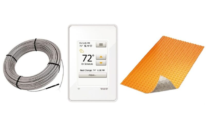 Schluter DITRA Floor Heat E Kit with Wi-Fi Thermostat, DUO Membrane + Heat Cable