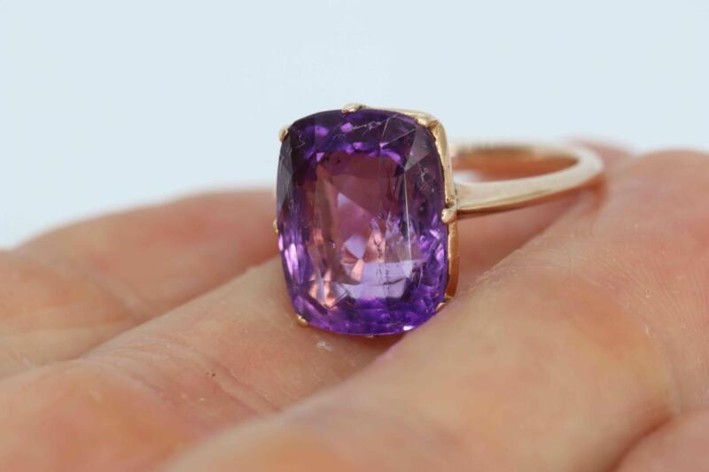 Stunning Antique Vintage 15ct Gold & Sparkly Amethyst Ring UK