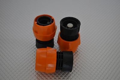 TWO NEW GARDEN HOSE FEMALE QUICK DISCONNECT ORANGE / BLACK 1/2""