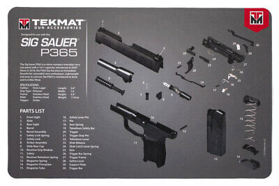 For Sig Sauer P365 Armorers Gun Cleaning Bench Mat Exploded View (Gun Cleaning Mat)