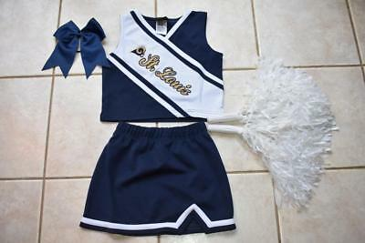 ST. LOUIS RAMS CHEERLEADER HALLOWEEN COSTUME OUTFIT 6 6X POM POMS BOW SET (St. Louis Halloween)