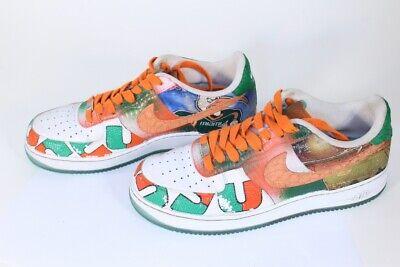 Custom University of Miami Hurricanes Nike Orange Bowl Football Sneakers Shoes Miami Orange Bowl