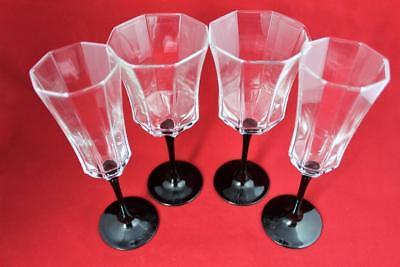 (LUMINARC France Black Stem Octime (2) Champagne Flutes & (2) Water/Wine Glasses)