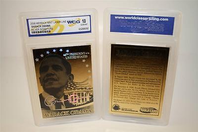 Barack Obama 44Th President 2008 Laser Line Gold Card   Graded Gem Mint 10