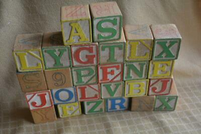 "26 Vintage Wood wooden Blocks ABC + 123  colors   2""  Primitive Crafts"