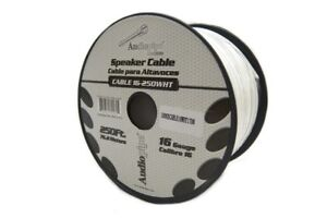 Speaker Wire 16 GA White Stranded Copper Clad 250 Feet Home Audio Surround Sound