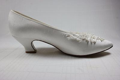 Dyeables Cherish White Silk Bridal Shoes Lace & Beaded Heels Pumps Wedding 6.5 (Dyeable Silk Wedding Shoes)