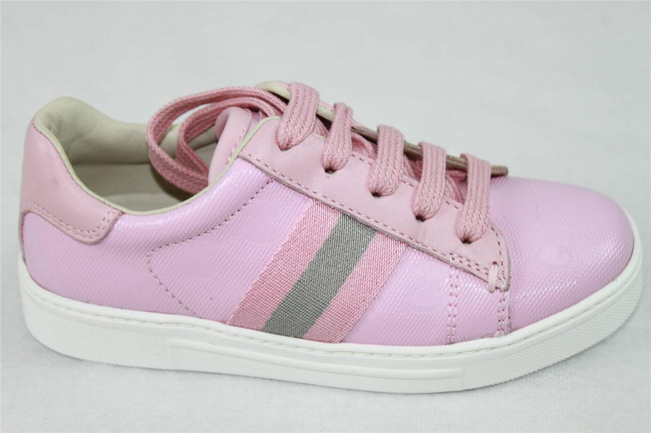 AUTH GUCCI  Girl's Guccissima Pink Lace Up Sneaker 27/10.5