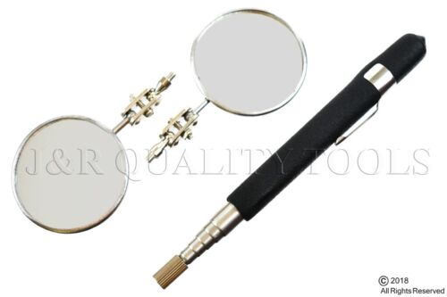 "2pc 2"" Round Telescoping Inspection Mirror 7-1/4"" to 30"" Cushion Grip Handle"