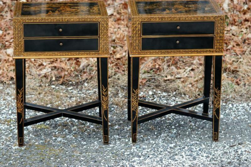 Pair of Side Tables Black Lacquer Chinese Chinoiserie