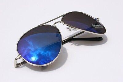 Herren 400UV Aviator Spiegel Blau Sonnenbrille Silber