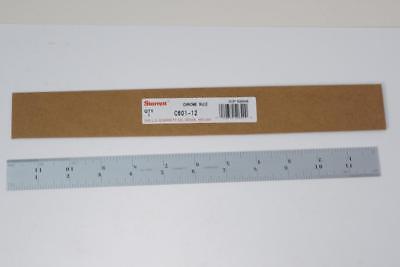 New Starrett Usa 12 Chrome Steel Ruler 10ths 12ths 14ths 16ths. C601-12 72