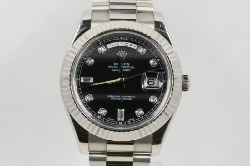 Rolex Day-date Ii 218239 Black Diamond Dial Box & Booklets