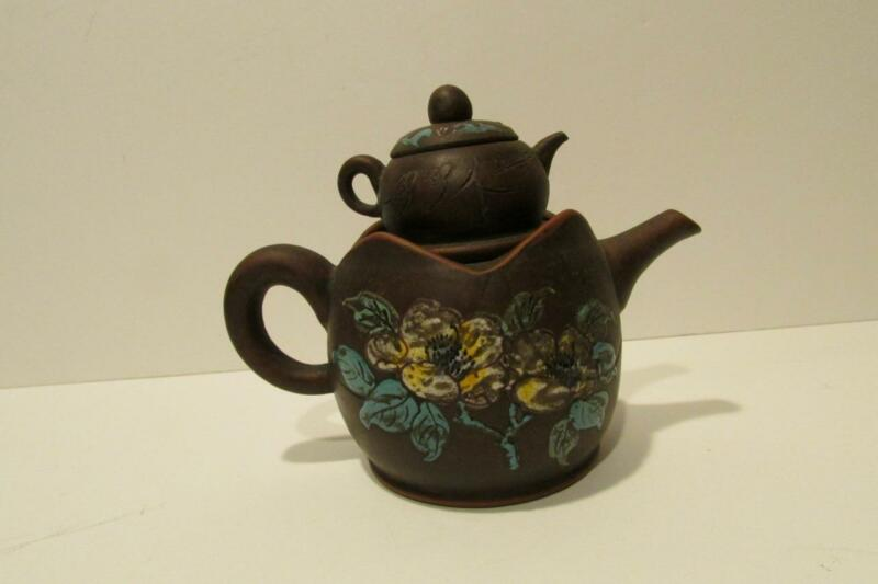 Rare Antique Chinese Asian Yixing Purple Clay Teapot with Miniature Teapot